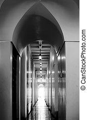 white.grain, tunnelausfahrt, licht, hinzugefügt, schwarz