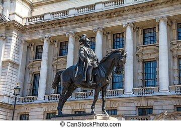 whitehall, guerre, vieux, opposé, royaume-uni, bureau, duc, cambridge-statue, prince, london., george