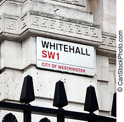 Whitehall street sign in Central London