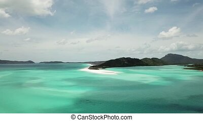 Whitehaven beach aerial footage. Whitsunday Islands in Australia. Turquoise blue perfect water