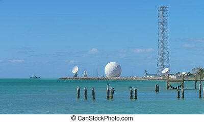 Whitehead Spit is a point in Key West, Florida. Shore Sphere Radar, Key West, Florida, USA. Military base on the shores of the Gulf of Mexico. Key West Coast