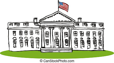 Illustration of the USA White House done in retro style isolated on a white background.