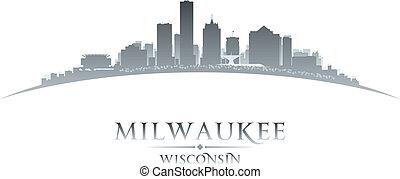 whitek, silueta, fundo, skyline, cidade, wisconsin, milwaukee
