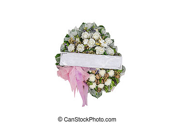 White rose Flower bouquet in round design with name tag