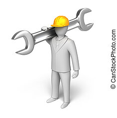 Whiteman ready to work, 3D man with spanner