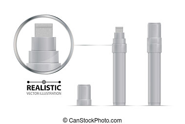 Whitemarker realistic vector illustration. Broad marker for...