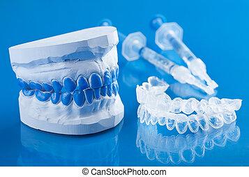 whitening, jogo, indivíduo, dentes