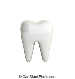 Whitening of human tooth 3d render on whitr no shadow