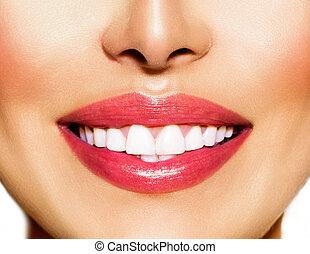 whitening., smile., 牙齒 關心, 健康的牙齒, 概念