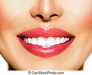 whitening., smile., 牙齿的关心, 健康的牙齿, 概念