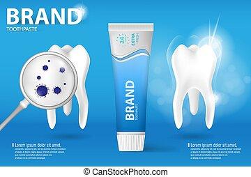 whitening, tandpasta, ad., realistisch, schoonmaken, en, vieze , tand, op, blauwe achtergrond, open plek, tand, proces, met, aroma, van, munt, tandpasta, en, tandpasta, bescherming, van, caries., concept, van, gezonde , teeth.