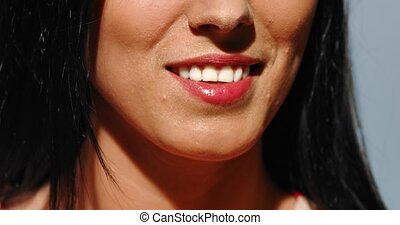 Whitening teeth in smile - Close view of woman teeth smlie...