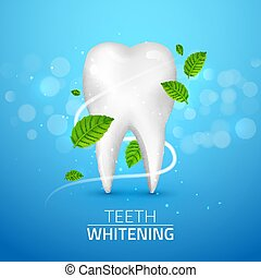Whitening tooth ads, with mint leaves on blue background. Green mint leaves clean fresh concept. Teeth health