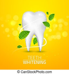 Whitening tooth ads, with mint leaves on green background. Green mint leaves clean fresh concept. Teeth health