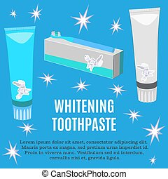 Whitening toothpaste ad vector flat illustration