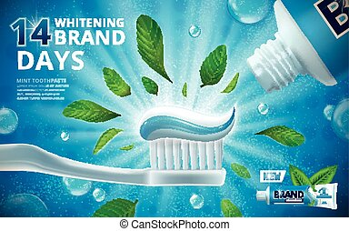 Whitening toothpaste ads, mint leaves flavour toothpaste on...