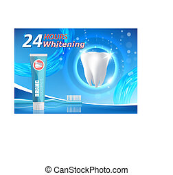 Whitening toothpaste advertising vector poster banner template