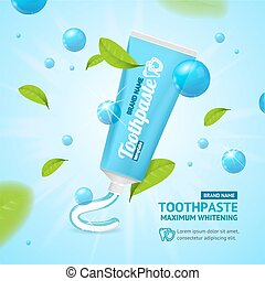 Whitening Toothpaste Promotion Concept Card. Vector