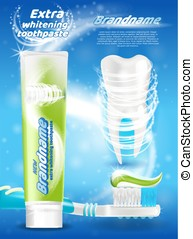 Whitening Toothpaste Vector Branded Promo Poster