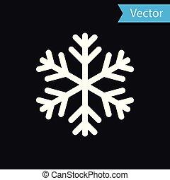 WhiteSnowflake icon isolated on black background. Vector Illustration