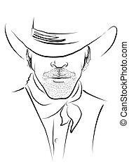 white.strong, cow-boy, vecteur, portrait, chapeau, homme