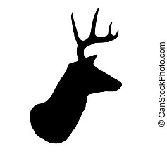 A profile of a whitetail deer buck silhouette isolated on white.