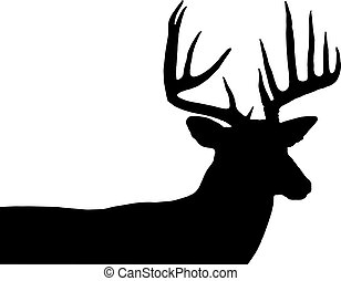 whitetail buck silhouette - big buck black silhouette over a...