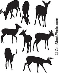 A vector illustration of some whitetail deer silhouettes set against a white background.