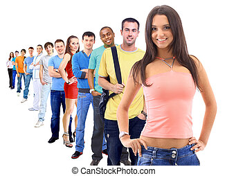 white.teenager, fiú, csoport, emberek, tizenéves, leány
