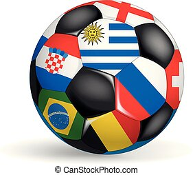 white.the, diferente, pelota, objeto, aislado, countries., juego, concepto, banderas, mundo, futbol