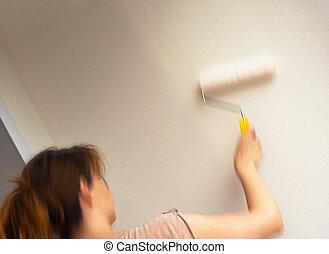 whitewashing the ceiling