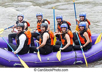 whitewater, グループ写真, 川, いかだで運ぶこと, 旅行, 前に
