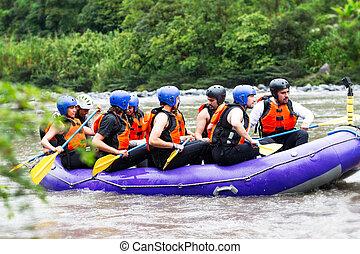 whitewater, 川, いかだで運ぶこと, 観光客, ボート