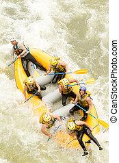 whitewater, 航空写真, 川, いかだで運ぶこと, ボート, 光景
