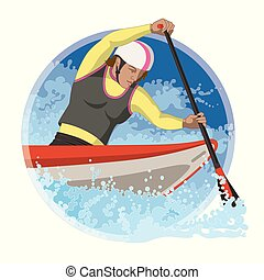 whitewater canoeing female with water rapids in a circular background