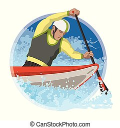 whitewater canoeing male with water rapids in a circular background