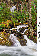 Whitewater Confluence - One cascading mountain stream flows ...