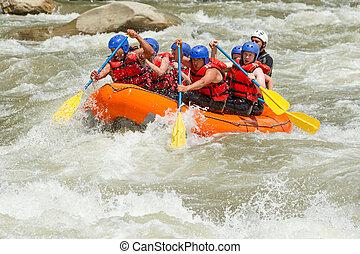 whitewater, fiume, trasportando zattera