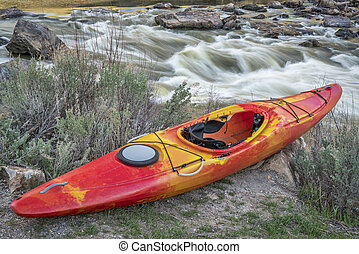 whitewater kayak and river rapid - Rodeo Rapid on the upper...