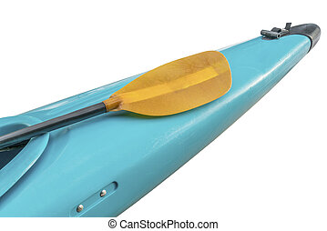 whitewater kayak bow with paddle - a bow of used old style...