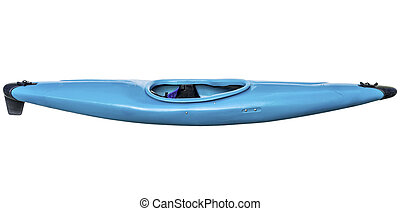 whitewater kayak isolated - used old style blue plastic...