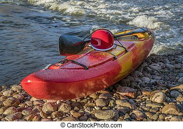whitewater kayak with helmet - whitewater kayak with a ...
