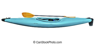 whitewater kayak with paddle - used old style blue plastic...