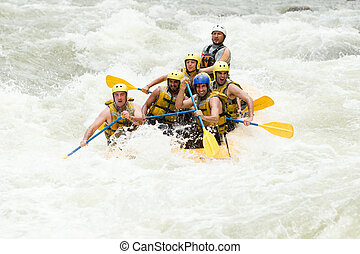 Whitewater Rafting Adventure - Group Of Mixed Tourist Men ...