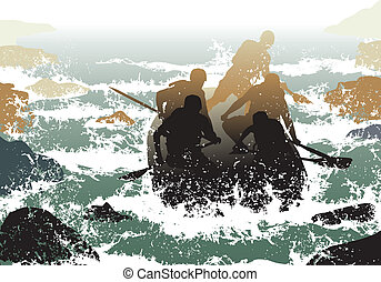 Editable vector illustration of people in a rubber dinghy going down whitewater rapids