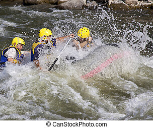 Whitewater rafting - Group of four men whitewater rafting in...