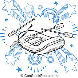 Whitewater rafting sketch - Doodle style illustration of...