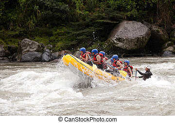 Whitewater River Rafting Adventure - Group Of Mixed Tourist ...