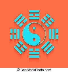 whitish, pared, yin, bagua, arrangement., señal, fondo., ...