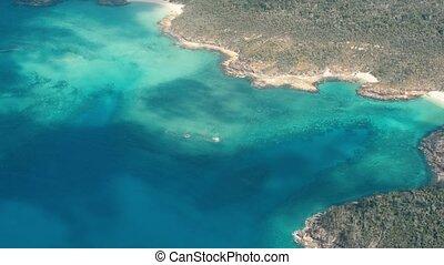 Whitsunday Islands, Australia. Beautiful ocean colors, aerial view